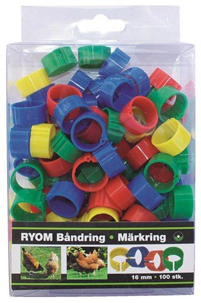 Ryom Båndringe plast forskellige farver, 16 mm, 100 stk.