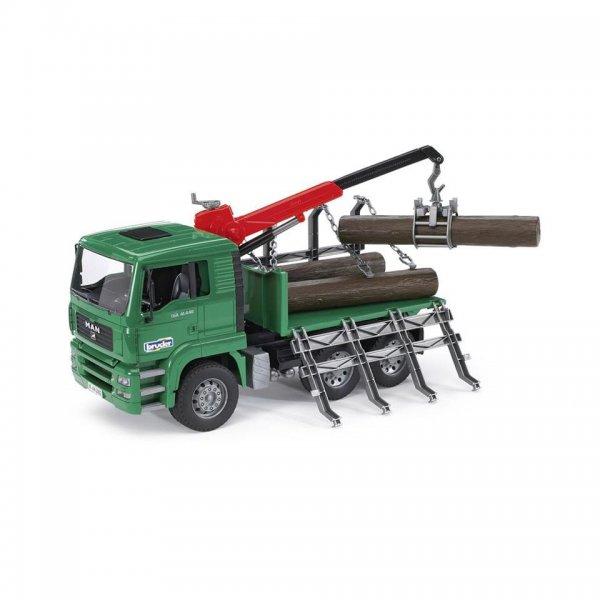 Bruder MAN Trætransport-Lastbil med kran & 3 træstammer