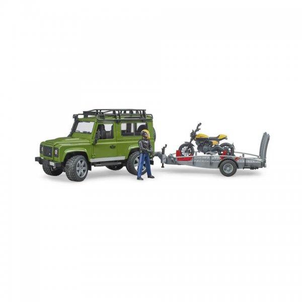 Bruder Land Rover Defender med trailer, Scrambler Ducati Full Throttle og driver