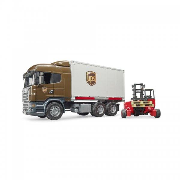 Bruder Scania R-Serie UPS Logistik-LKW med mobil forklift