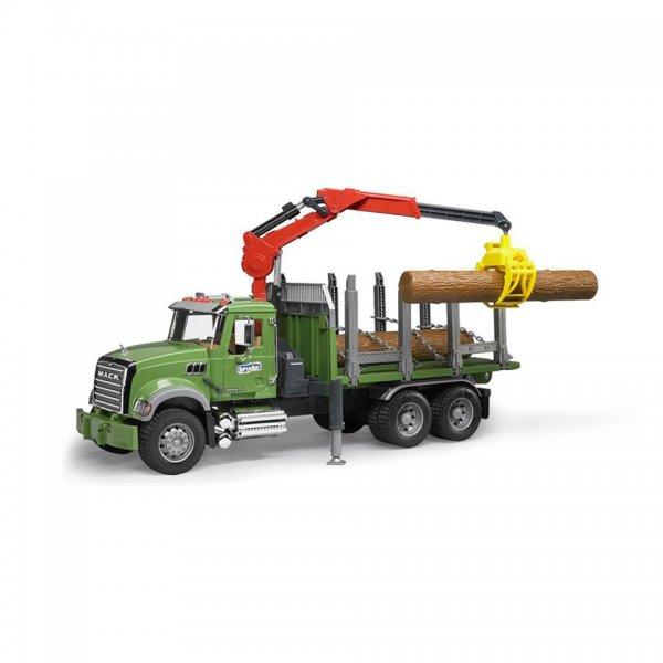 Bruder MACK Granite Tømmertransportvogn med lastekran, gribearm & 3 træstammer