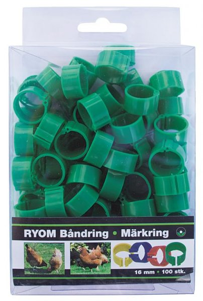 Ryom Båndringe plast grøn, 16 mm, 100 stk.