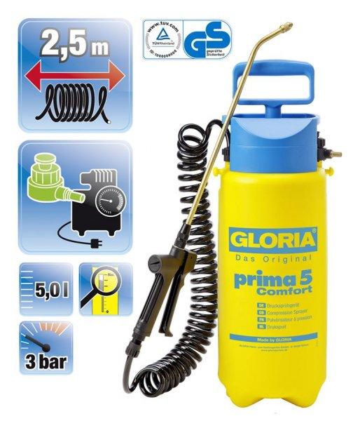 Gloria Tryksprøjte Prima 5 Comfort, 5 liter