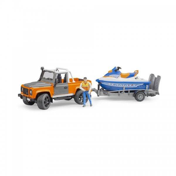 Bruder Land Rover Defender PickUp med Anhænger, Personal Water Craft & Chauffør