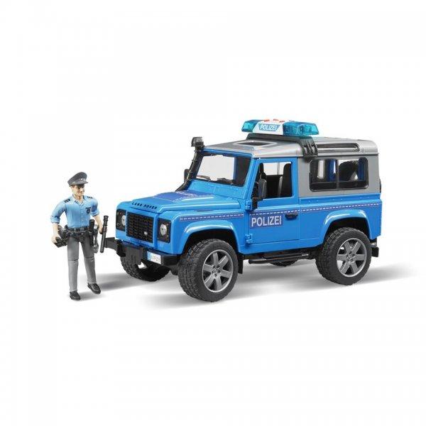 Land Rover Poltibil Defender Station Wagon med politimand, blå/sølv