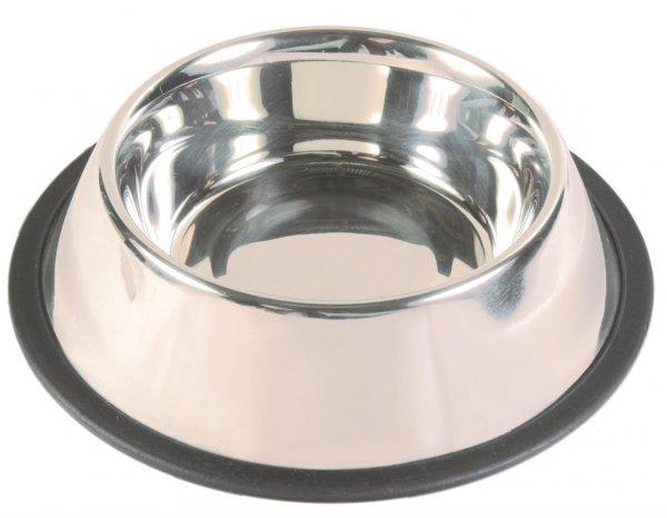Trixie Skål af rustfrit stål, gummiring, 0,9 l/ø 17 cm