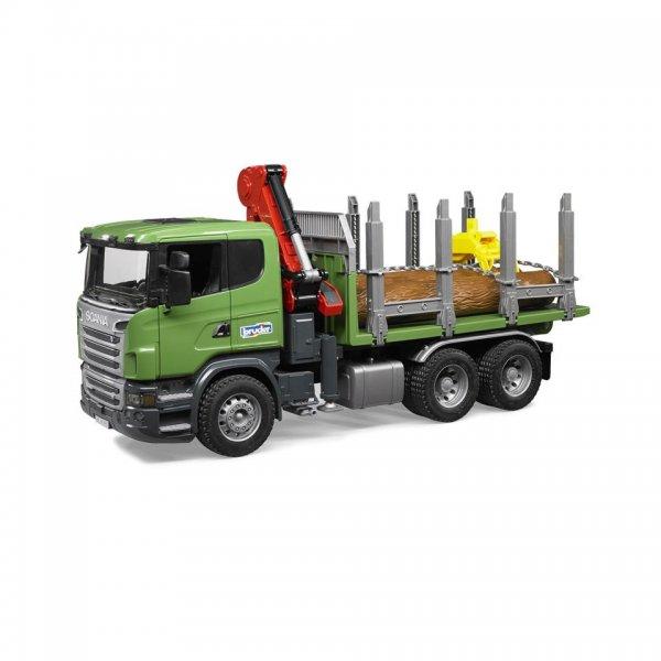 Bruder Scania R-Serie Trætransp.-Lastbil, Kran, Grebarm & 3 træstammer