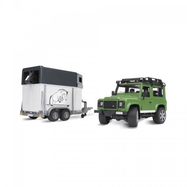 Bruder Land Rover Defender med hestetrailer inkl.1 hest