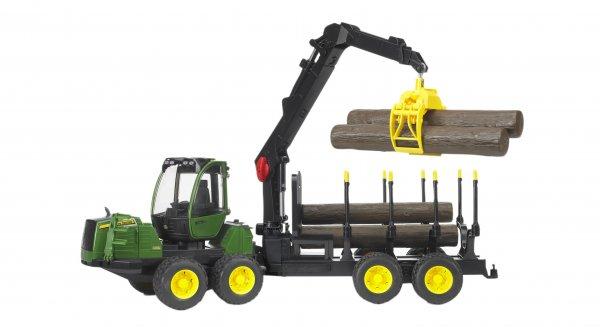 Bruder John Deere Skovrydningsmaskine 1210E med kran, vogn og 4 træstammer