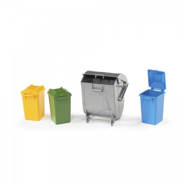 Bruder Affaldstønde-Set med 4 forskellige tønder i forskellige farver