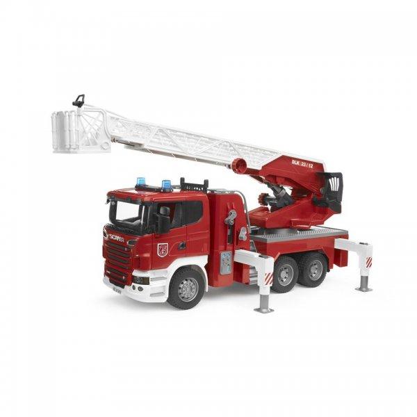 Bruder Scania R-Serie Brandbil med stige, pumpe og Light&Sound