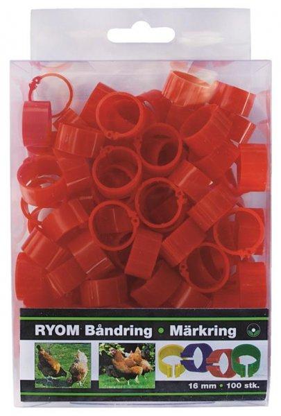 Ryom Båndringe plast rød, 16 mm, 100 stk.