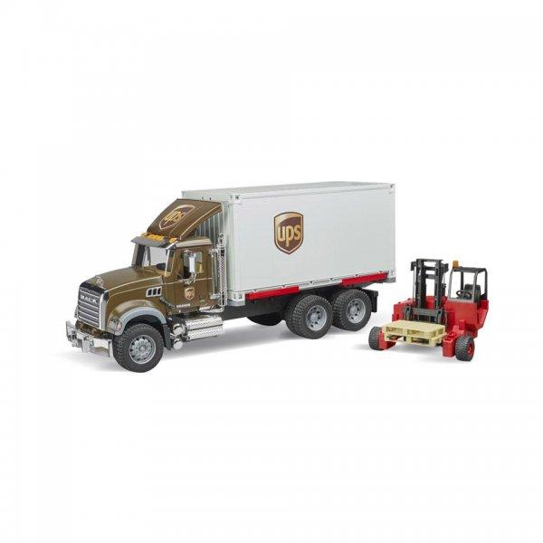 Bruder MACK Granite UPS Logistik-Lastbil med mobil forklift
