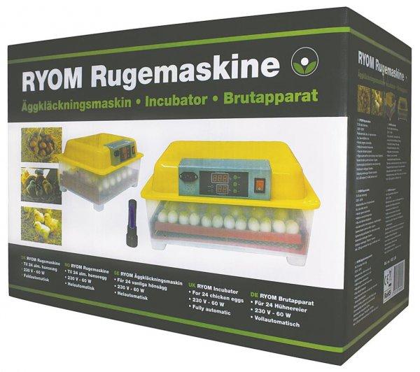 Ryom rugemaskine med automatisk vending til 24 almindelige hønseæg