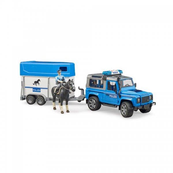Bruder Land Rover Defender Politivogn, Hestetrailer, Hest og Politmand