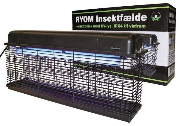 Elektrisk Insektfælde Ryom til fugtrum, IPXS, 2500V, 2x15W, 150 m²