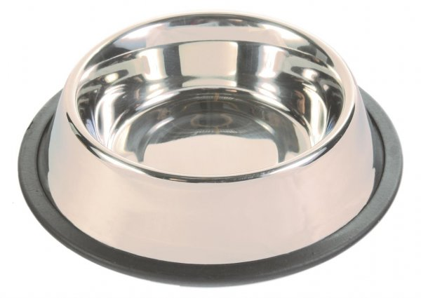 Trixie Skål af rustfrit stål, gummiring, 0,45 l/ø 14 cm