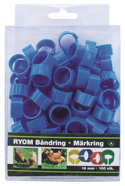 Ryom Båndringe plast blå, 16 mm, 100 stk.