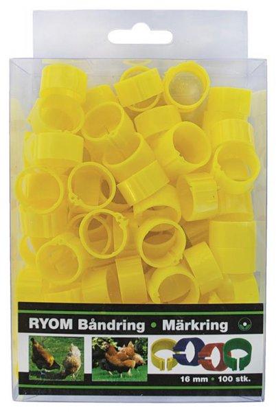 Ryom Båndringe plast gul, 16 mm, 100 stk.