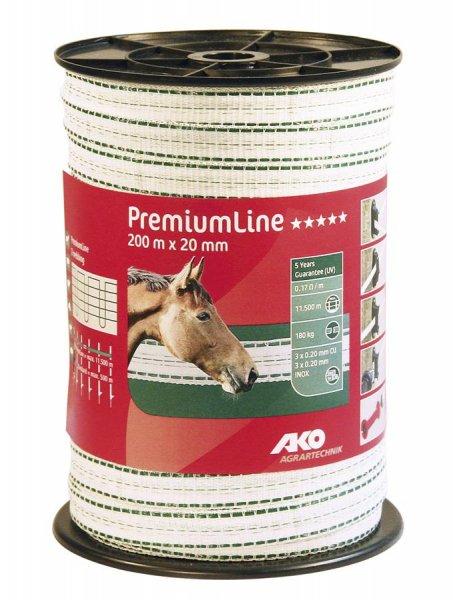 Kerbl Bånd Premium Line, 200 m, 20 mm, hvid/grøn